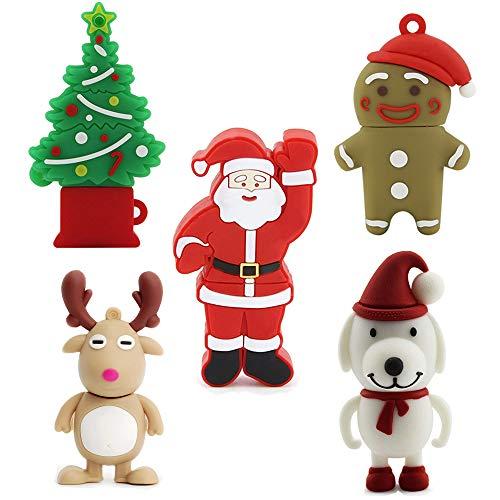 5 Pack 32GB USB 2.0 Bulk Flash Drives Novelty Cute Thumb Drive Jump Drive Memory Stick Pendrive Zip Drive (Christmas Tree,Deer,Santa Claus,Cartoon Character,Dog) (Christmas Flash Drive)