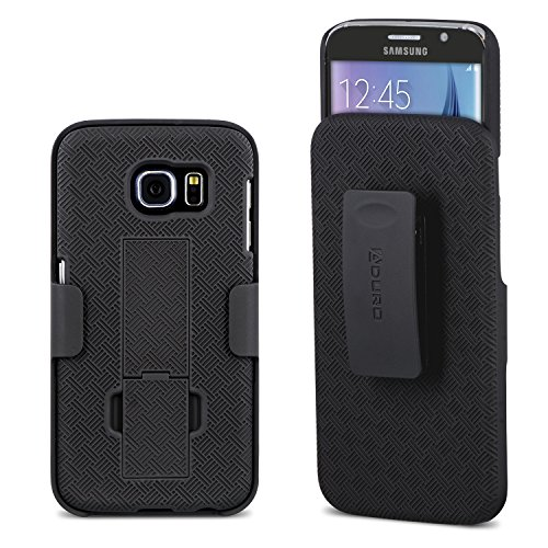 Aduro Galaxy S6 Case, Shell & Holster Combo Case Super Slim Shell Case w/Built-in Kickstand + Swivel Belt Clip Holster for Samsung Galaxy S6