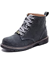 Men's Winter Frosted Lace up Crystal Leather Tall Snow Boots