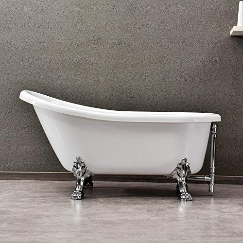 - WOODBRIDGE Slipper Clawfoot Bathtub with Solid Brass Polished Chrome Finish Drain and Overflow, B-0022 /BTA1522, White Tub 59