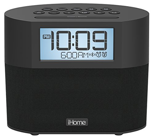 iHome Bluetooth Dual Alarm FM Clock Radio with Speakerphone and Dual USB Charging