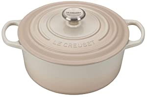 Le Creuset 5.5-Quart Signature Round Dutch Oven Stainless Steel Knob, Meringue