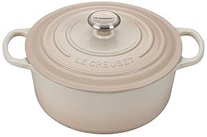 Le Creuset 5.5-Quart Signature Round Dutch Oven Stainless Steel Knob, Meringue