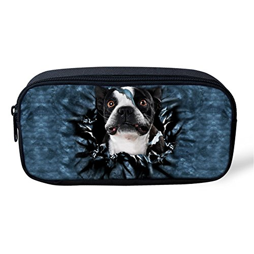 Sannovo Denim Boston Terrier Breed Standard Children School Pencil Case Pen Box Student - Boston Terrier Breed Standard