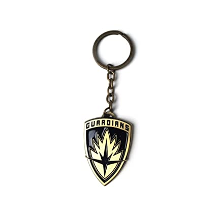 Guardianes de la Galaxy Marvel Vol. 2 Logo escudo de metal llavero clave, 6 cm, de oro
