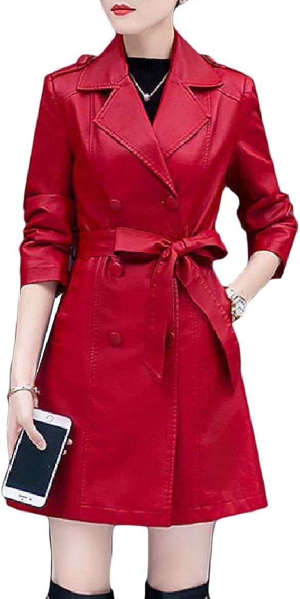 Unastar Women Thick Belt Button Lapel Plus Velvet Oversized Leather Trench Coat