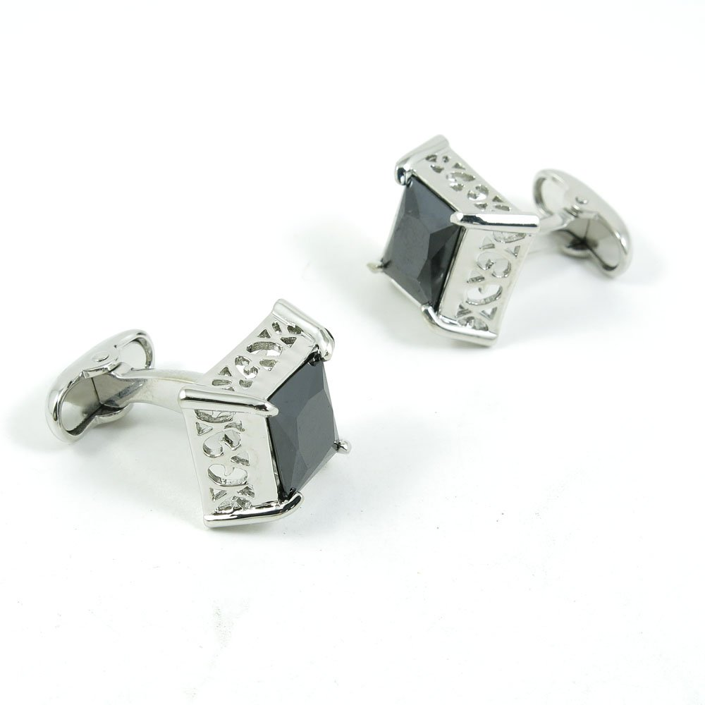 50 Pairs Cufflinks Cuff Links Fashion Mens Boys Jewelry Wedding Party Favors Gift KLU038 Hollow Carving Black Crystal