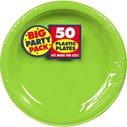 Kiwi Green Plastic Luncheon Plates Big Party Pack, 50 Ct.