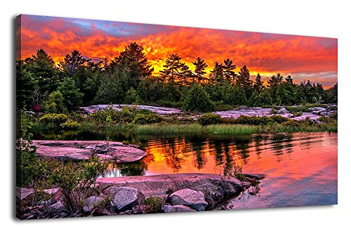 Canvas Art Green Forests Lake Sunset Red Sky Nature Pictures Painting Long Wall Art Panoramic Contemporary Canvas Artwork Trees Stones Sunset Clouds Large Landscape for Home Decoration Wall Decor