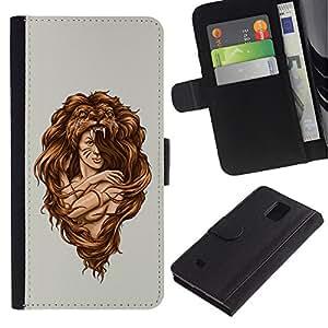 """Samsung Galaxy Note 4 IV / SM-N910 , la tarjeta de Crédito Slots PU Funda de cuero Monedero caso cubierta de piel ("""" Amazon Woman Warrior Lion Wild Nature Art"""")"""