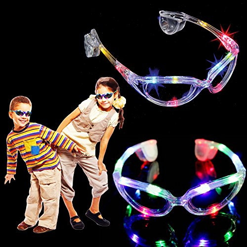 Pack of Two Glasses - Toy Cubby Light-Up Multi Colored Halloween Cool Glowing Glasses - LED Party Favor Sunglasses. Just Add This To Your Cart & Join The Lucky Toy - Sunglasses Glowing
