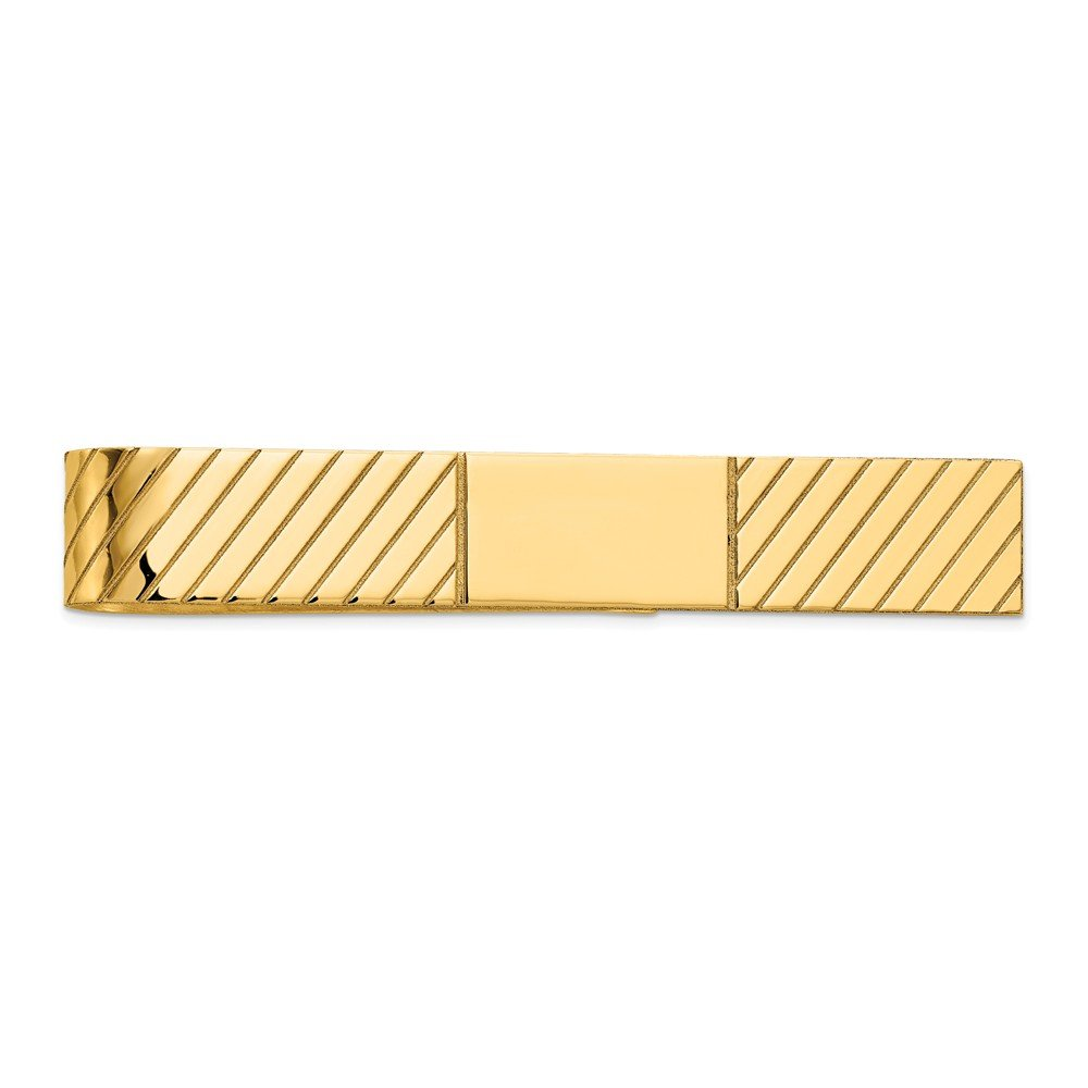 14K Yellow Gold Polished Engravable Tie Bar Clip by Accessory Tie Bar (Image #2)