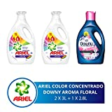 Ariel + Downy Combo Ariel Color Detergente Líquido 2 Botellas 3 Litros C/u + Downy Suavizante Floral 2.8 L, Pack of 1