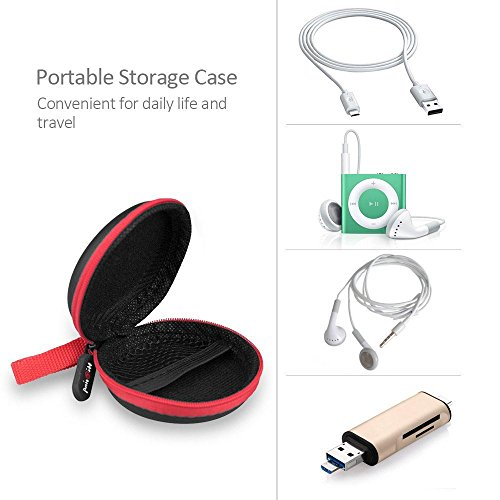 Large Product Image of Headphones Case, HiGoing Multifunction Protective Hard Travel Carrying Case, Portable Storage Bag For Bluetooth / Wired Headset Earphone Earbuds MP3 - Black