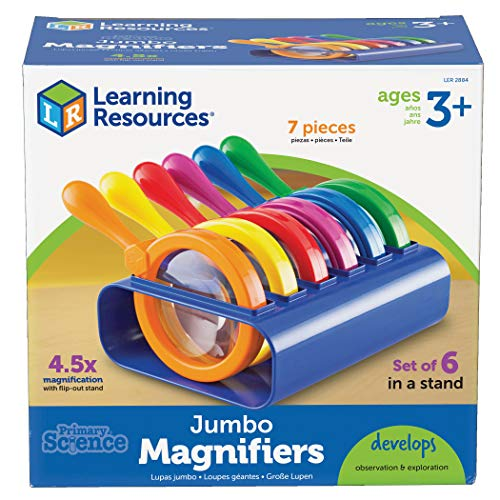 Learning Resources Primary Science Jumbo Magnifiers with Stand, Science Classroom Accessories, Teaching Aids, Set of 6 Magnifiers, Ages 3+