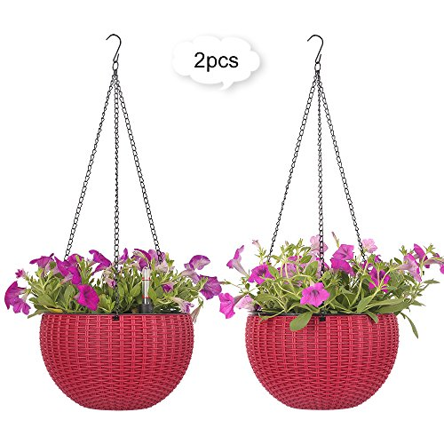 Growers Hanging Basket, Indoor Outdoor Hanging Planter Basket , 8.9 in.Round Resin Garden Plant Hanging Planters Decor Pots, set of 2 (Red)