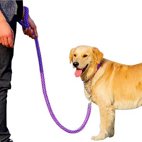 Spinner Diamond Leash Black - Freerun Heavy Duty Nylon Braided Collar & Pet Leash Pet Chain Rope for Medium Large Training Dogs - Purple, L