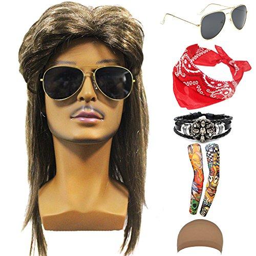 70s 80s 90s Men's Disco Halloween Rock Star Heavy Metal Wig Set Packet of 6 (Set-2) -