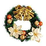 PENATE 35cm Christmas Wreaths Bow Tie Merry Christmas Party Poinsettia Pine Wreath Door Wall Garland Decoration For Christmas Trees (C)