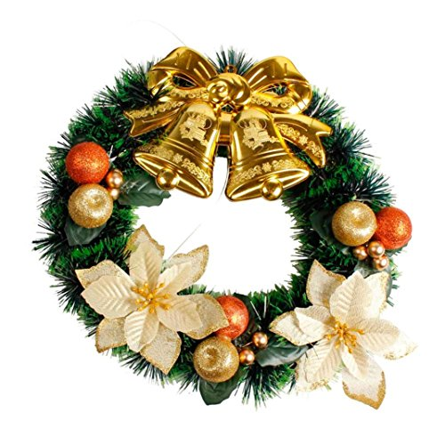 PENATE 35cm Christmas Wreaths Bow Tie Merry Christmas Party Poinsettia Pine Wreath Door Wall Garland Decoration For Christmas Trees (C) by PENATE