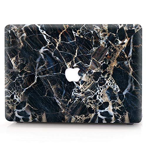 Hard Case for MacBook 12 inch Retina Model A1534, AQYLQ Ultra Slim Matte Plastic Rubber Coated Protective Shell Cover, S5 Black Marble