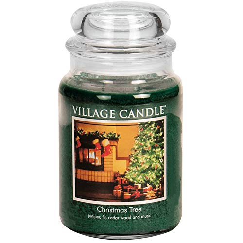 26 Ounce Christmas Jar - Village Candle Christmas Tree 26 oz Glass Jar Scented Candle, Large,