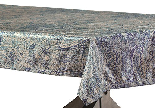 - PTPCH-170804-TC-108 Wilton Designer Faux Silk Taffeta Table Cloth, Blue, 54 x 108