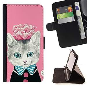 - Cat Cute Kitty/ Personalizada del estilo del dise???¡Ào de la PU Caso de encargo del cuero del tir????n del soporte d - Cao - For Samsung Galaxy A3