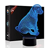 Cute Dog 3D Xmas Decoration Illusion Night Lamp Beside Table Lamp, Gawell 7 Color Changing Touch Switch Halloween Gift Lamps with Acrylic Flat & ABS Base & USB Cable Dog Lover Theme Toy