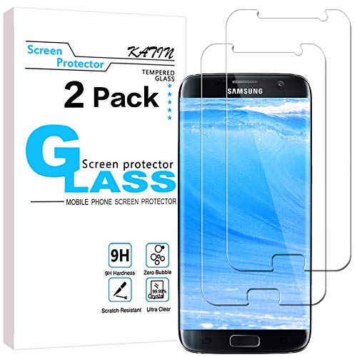 KATIN Galaxy S7 Screen Protector - [2-Pack] (Japan Tempered Glass) for Samsung Galaxy S7 Bubble Free, 9H Hardness, Easy to Install with Lifetime Replacement Warranty