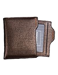 American Trends Men's Bifold Wallets Business Leather Purse Card Case Holder Gold