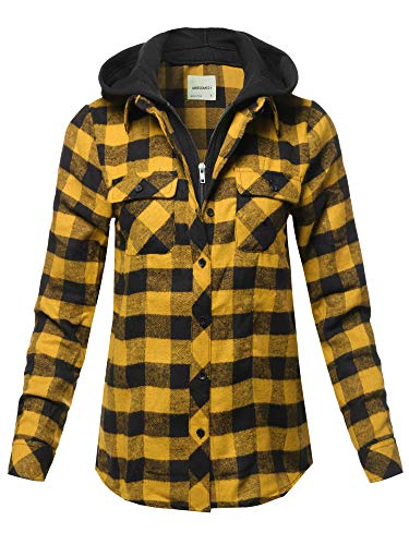 Awesome21 Casual Hooded Flannel Plaid Shirt Yellow Black Size L