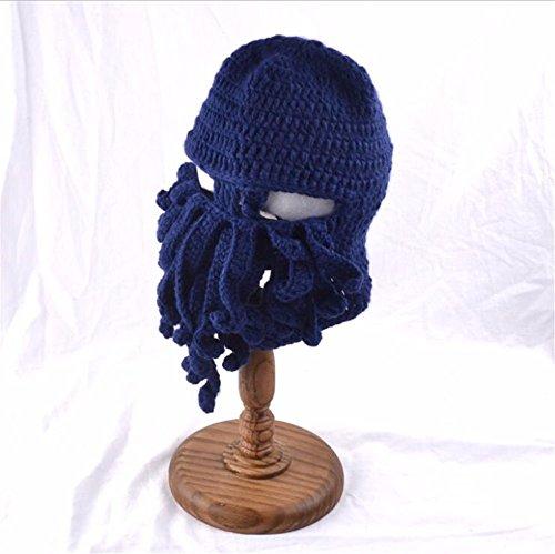 Pulpo Y Azul marine Hecho De Sombrero Gorros Sombrero Barba Punto Sombrero Octopus Lana Gracioso De OSISDFWA Moda A Mano Creativa Sombrero De xZTPYw