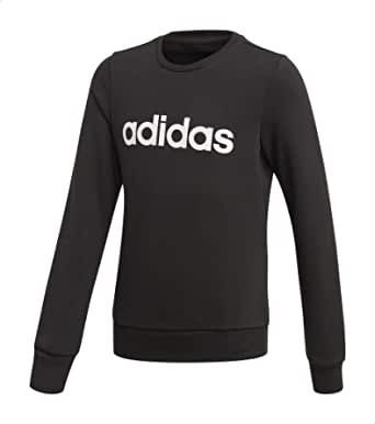 Adidas Linear Slim-Fit Front Logo Print Ribbed Trims Sweatshirt for Girls - Black and White, 14-15 Years
