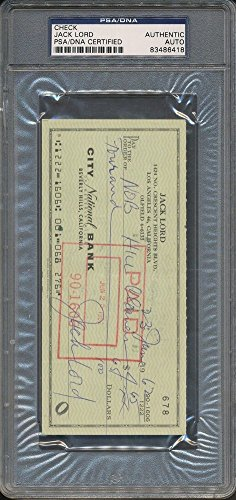 Jack Lord Certified Autographed Check PSA/DNA Certified Certified Auto Autograph *6418