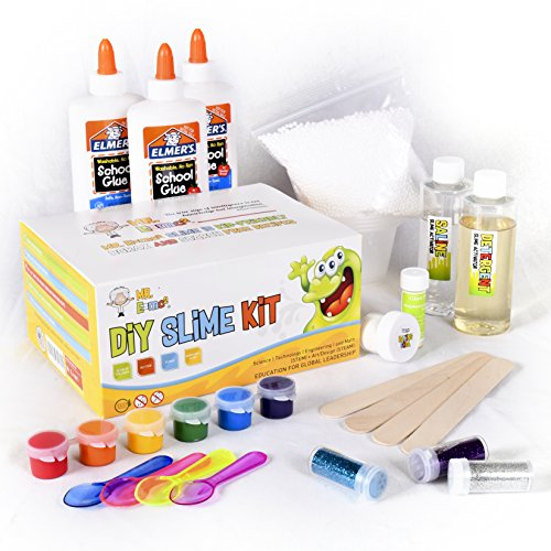 Homemade Slime Kit | How to Make Slime, Putty, and Goo | Includes Slime Containers, Ingredients, and Supplies for 4 Different Kinds of Slime: Glow in the Dark, Neon Colored, Foam, Glitter by Mr. E=mc2