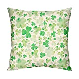 St. Patrick's Day Pillow Covers 18 x 18 Inches, Colovis Cotton Linen Floral Throw Pillow Case Shamrock Cushion Pillowcase for Sofa, Bed, Home Decor Spring