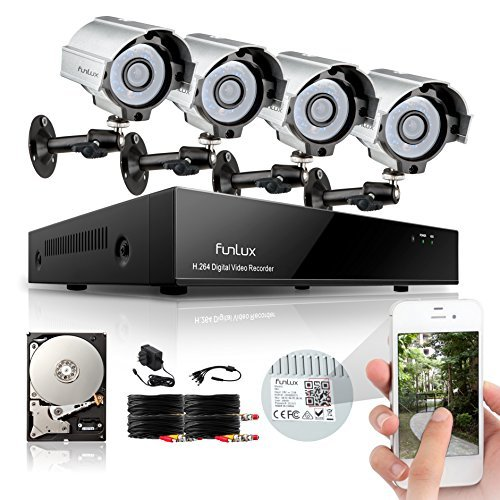 Funlux 8CH 960H DVR Home Security System, P2P, QR-Code Connection, 4 IR-Cut Day Night CCTV Cameras Surveillance System 500GB Hard Drive
