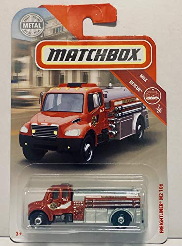 - Matchbox 2018 Freightliner M2 106 Red #48/100 MBX Rescue 7/20 Toy Fire Engine Truck Die Cast 1:64 Scale