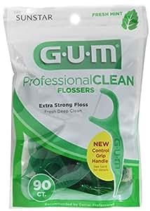 Gum Professional Clean Flossers, Fresh Mint 90 ea (Pack of 3)