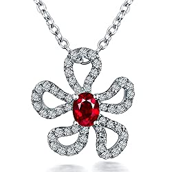 White Gold Red Ruby Diamonds Necklace Pendant