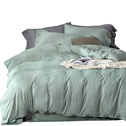 MIMONG Microfiber Zipper Closure Duvet Cover with Coconut Button Pillowcases, Soft Luxury Hypoallergenic & Breathable Easy Care Bedding Set(Green, King) (104''×90'')