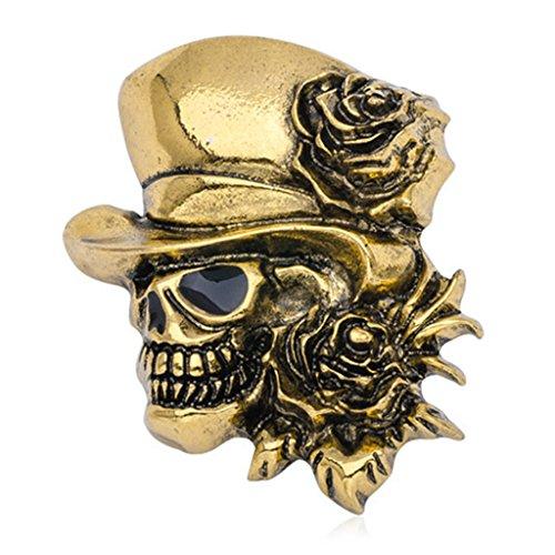 (Kofun Brooch Pin Goth Vintage Punk Halloween Party Skull Skeleton Rose Flower Brooch Pin Gifts Gold)