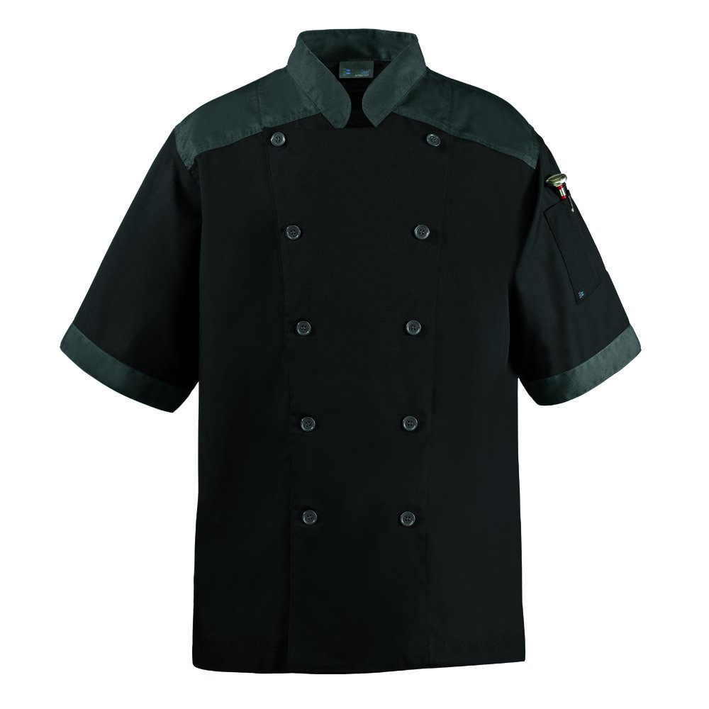 CookCool Top Trim Chef Coat Short Sleeve (Large, Black)