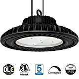 LED High Bay Light 150W UFO LED High Bay Lighting Daylight 5000K 19500Lumens 0-10V dimmable CRI80 IP65 Waterproof Dustproof Industrial Grade Warehouse Fixture Factory Shed Roof Lamp  ETL Certified