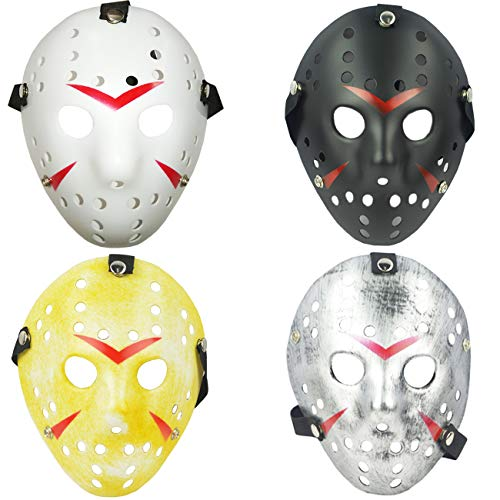 TIHOOD 4PCS Costume Jason Mask Cosplay Halloween Masquerade Party Horror Mask Christmas for Men and Adults