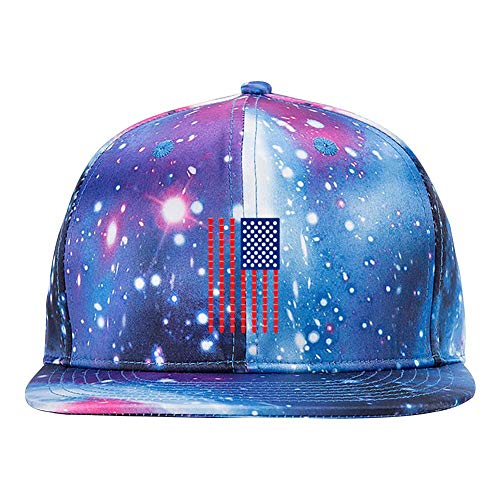 GCASST Beer Pong American Flag Galaxy Baseball Cap, Adjustable Snapback Hats, Unisex Flat Brim Caps for Men Women Boys Girls ()