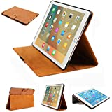 iPad Pro 9.7 inch Genuine Leather Case,Dingrich Retro Real Leather Lightweight Folio Stand Smart Case Cover [Scratch-Resistant Lining Perfect Fit with Auto Wake Up/Sleep Function for iPad Pro 9.7(BN)