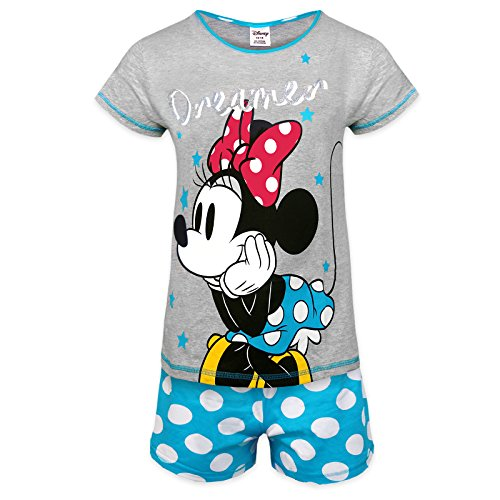 Disney Minnie Mouse Official Gift Ladies Short Pajamas Blue Size 12-14 -