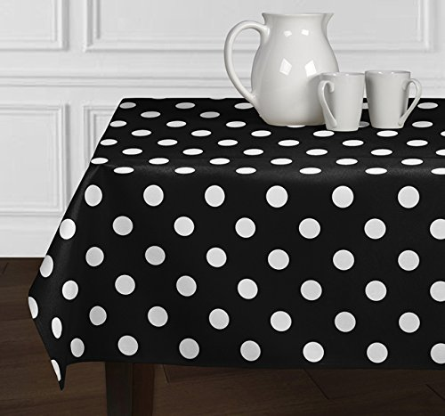A LuxeHome Black and White Modern Contemporary Large Polka DotTablecloths Dining Room Kitchen Rectangle Oblong 60